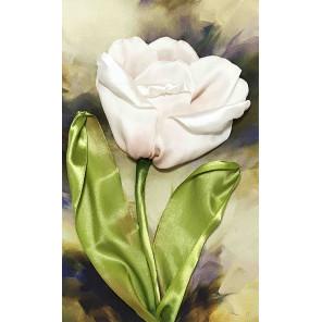 Белый тюльпан Набор для вышивки лентами Каролинка КЛ(Н)-4015