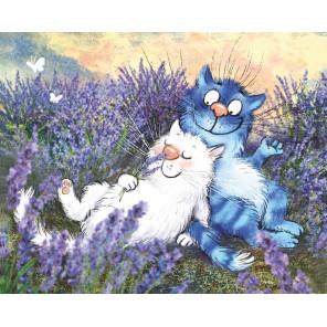 Коты в лаванде Алмазная мозаика вышивка на подрамнике LG275