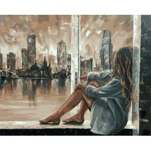 Вечерний город за окном Раскраска картина по номерам на холсте GX37729