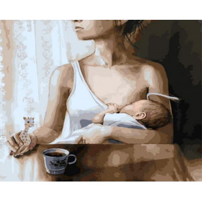 Утро молодой мамы Раскраска картина по номерам на холсте GX37580