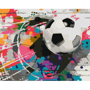 Радужный футбол Раскраска картина по номерам на холсте GX37539