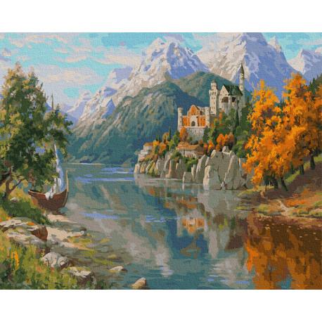 Замок в горах Раскраска картина по номерам на холсте Molly KH0979