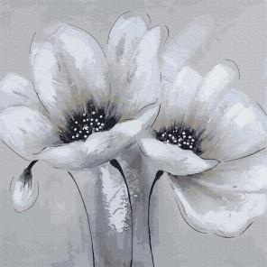 Белые цветы Раскраска картина по номерам на холсте Molly KH0945