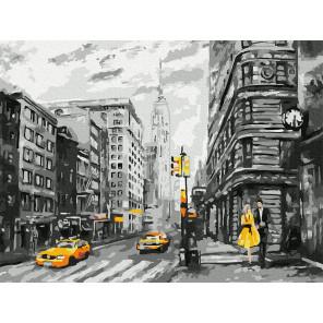 Нью-Йорк Раскраска картина по номерам с цветной схемой на холсте Molly KK0680