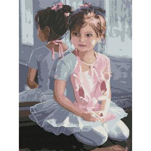 Маленькая балерина Раскраска картина по номерам с цветной схемой на холсте Molly KK0678