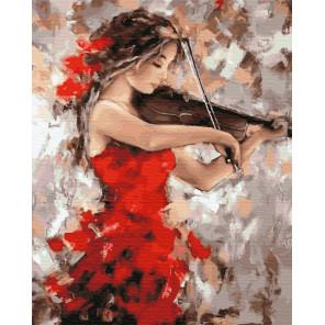 Девушка со скрипкой Раскраска картина по номерам на холсте ZX 23307