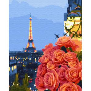 Букет на фоне башни Раскраска картина по номерам на холсте ZX 22598