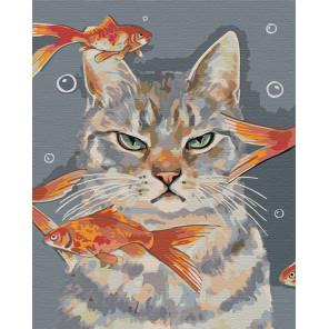 Недовольный кот и рыбки Раскраска картина по номерам на холсте AAAA-RS067-100x125