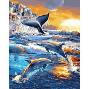 Дельфины и кит Раскраска картина по номерам на холсте GX33232