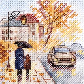 Осень в городе. Мокрый бульвар Набор для вышивания Алиса 0-218