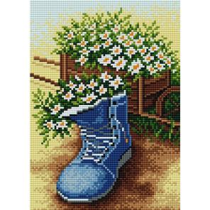 Цветы в ботинке Алмазная вышивка мозаика на магнитной основе V-120