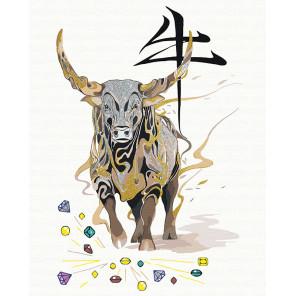 Бык, приносящий богатство/ Год Быка Раскраска картина по номерам на холсте с металлическими красками AAAA-RS071-80x100