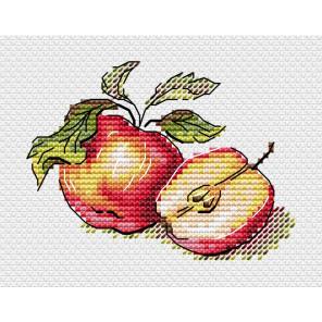 Пример вышитой работы Сочные яблочки Набор для вышивания МП Студия М-596