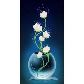 Изящные цветы Ткань с нанесенным рисунком для вышивки бисером Конек 8513