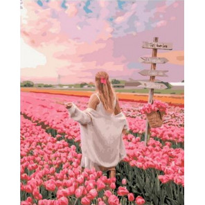 Прогулка по полю тюльпанов Раскраска картина по номерам на холсте GX38142