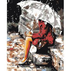 Размышления под дождем Раскраска картина по номерам на холсте EM10