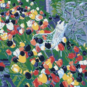 Клумба тюльпанов Раскраска картина по номерам на холсте RA058