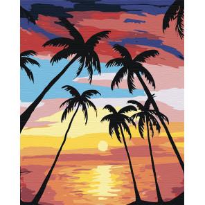 Закат под пальмами Раскраска по номерам на холсте Живопись по номерам RA124