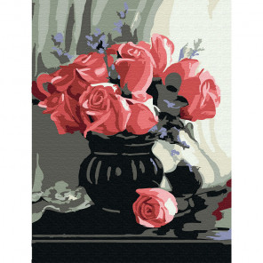 Розы Раскраска картина по номерам на холсте (холст на твердой основе) KH0764