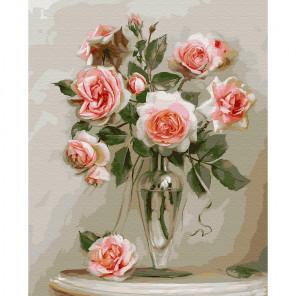 Розы в вазе Раскраска картина по номерам на дереве KD0706