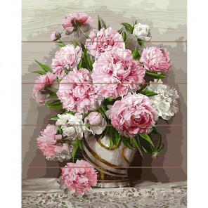 Розовые пионы Раскраска картина по номерам на дереве KD0731