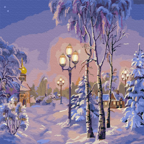 Зимний вечер Раскраска картина по номерам на холсте KH0739