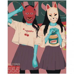 Девушки в масках аниме 100х125 Раскраска картина по номерам на холсте
