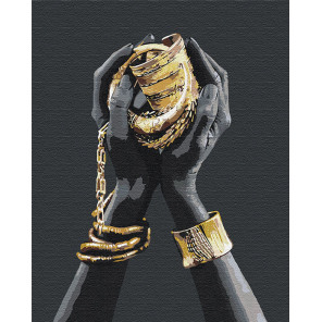 Золотые украшения в руках / Африканка 100х125 см Раскраска картина по номерам на холсте с металлической краской AAAA-RS078-100x
