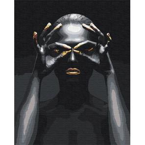 Золотые ресницы и губы / Африканка 80х100 см Раскраска картина по номерам на холсте с металлической краской AAAA-RS079-80x100