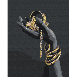 Золотые украшения в руке / Африканка 100х125 см Раскраска картина по номерам на холсте с металлической краской AAAA-RS082-100x1
