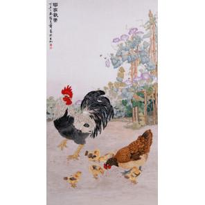 Пример оформления в рамку Куриное семейство Набор для вышивания XIU Crafts 2030805