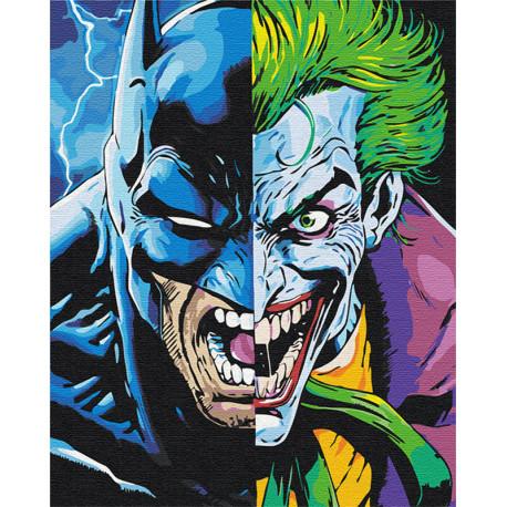 Бэтман и Джокер 80х100 см Раскраска картина по номерам на холсте с неоновыми красками AAAA-RS083-80x100