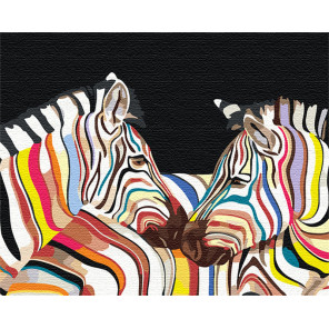 Радужные зебры Раскраска картина по номерам на холсте с неоновыми красками AAAA-RS101