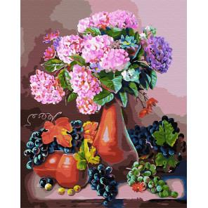Гортензия и виноград Раскраска картина по номерам на холсте GX30652