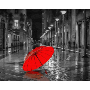 Красный зонт Раскраска картина по номерам на холсте GX22094