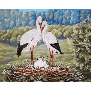 Семья аистов Раскраска картина по номерам на холсте GX5741