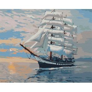 Белый парусник Раскраска картина по номерам на холсте G423