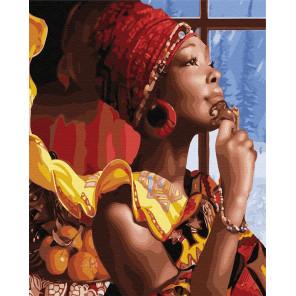 Африканская дама Раскраска картина по номерам на холсте GX21950