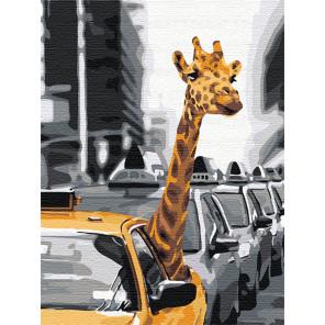 Пример в интерьере Жираф в большом городе 75х100 см Раскраска картина по номерам на холсте AAAA-RS053-75x100