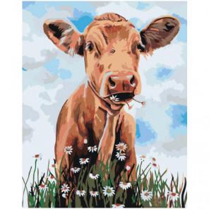 Корова с ромашками 80х100 Раскраска картина по номерам на холсте