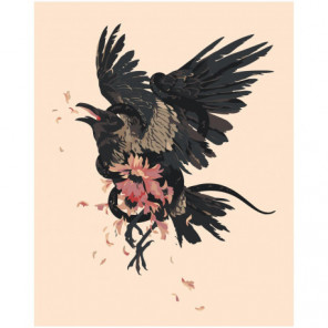 Ворон в японском стиле 80х100 Раскраска картина по номерам на холсте