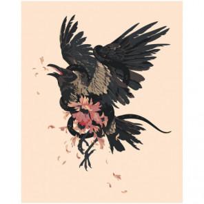 Ворон в японском стиле 100х125 Раскраска картина по номерам на холсте