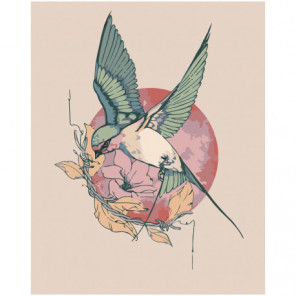Колибри на цветке 80х100 Раскраска картина по номерам на холсте