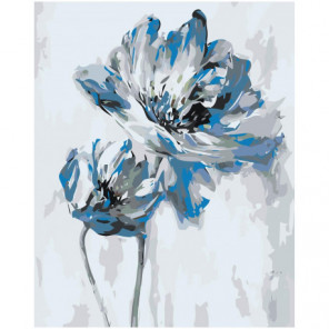 Голубой цветок абстракция Раскраска картина по номерам на холсте
