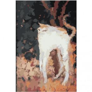 Белый кот абстракция 100х150 Раскраска картина по номерам на холсте