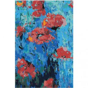 Маки абстракция 80х120 Раскраска картина по номерам на холсте