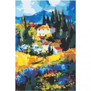 Дом в горах абстракция Раскраска картина по номерам на холсте