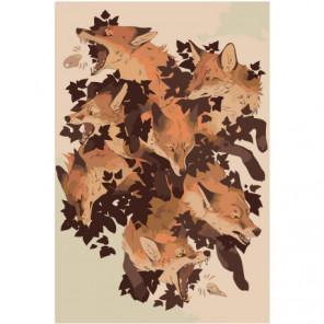 Лисы абстракция Раскраска картина по номерам на холсте