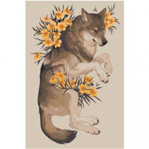 Волк с цветами 100х150 Раскраска картина по номерам на холсте