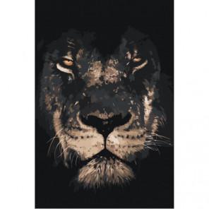 Лев в тени 80х120 Раскраска картина по номерам на холсте